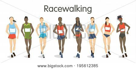 Isolated racewalking illustration on white background. Athletes with sport outfit.
