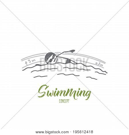 Swimming concept. Hand drawn man swimming in a pool. Professional swimmer isolated vector illustration.