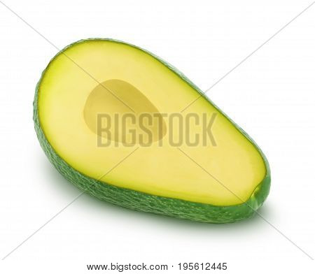 Half of green avocado isolated on white background.