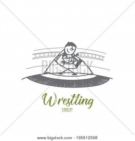 Wrestling concept. Hand drawn two freestyle wrestlers in uniform wrestling on ring. Fight between sportsmen isolated vector illustration.