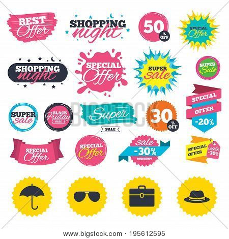 Sale shopping banners. Clothing accessories icons. Umbrella and sunglasses signs. Headdress hat with business case symbols. Web badges, splash and stickers. Best offer. Vector