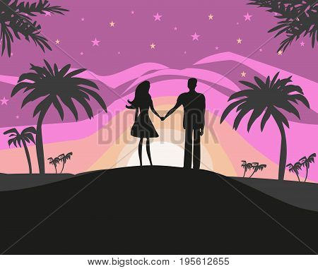 Couple silhouette on tropical vacation , vector illustration