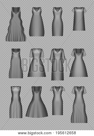 Women's dress mockup set. Cocktail evening dress collection in retro style. Realistic 3d vector illustration. Gradient mesh. Vintage gown silhouette.