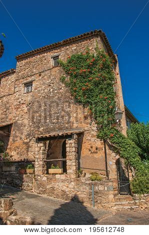 Les Arcs-sur-Argens, France. View of stone house facade with bindweed at the gorgeous medieval hamlet of Les Arcs-sur-Argens. Provence region, Var department, southeastern France
