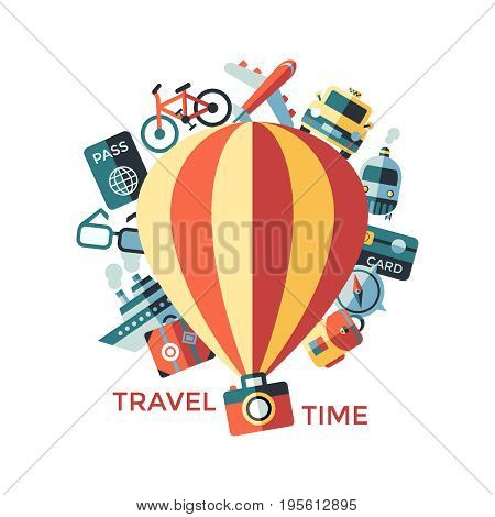 Digital vector travel icons set with drawn simple line art info graphic poster promo, ship boat camera balloon luggage compass air plane map globe taxi card hotel bicycle free, flat style