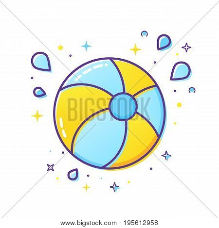 Inflatable ball and splash icon isolated on white background
