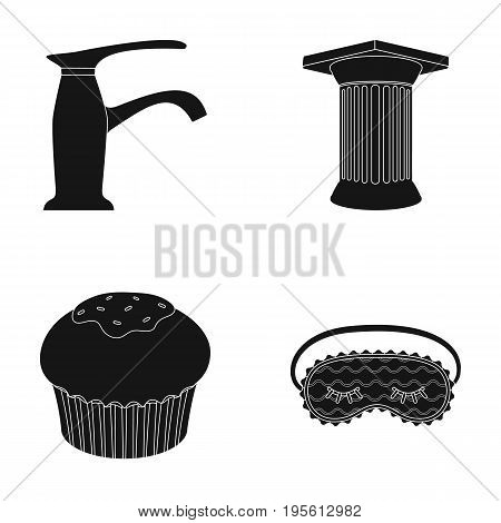 sanitary ware, cooking and or  icon in black style. Archeology, house icons in set collection.