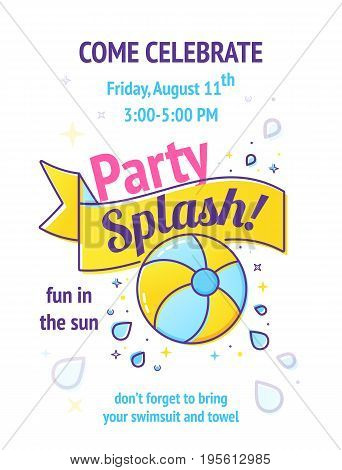 Pool party poster with inflatable ball and splash in swim pool water. Vector illustration