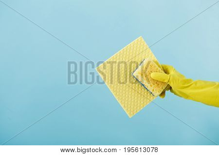 hand  in a rubber yellow glove holding sponge on blue background. cleaning