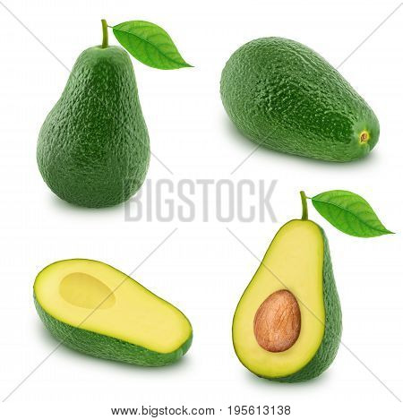 Set of green avocados isolated on white background.
