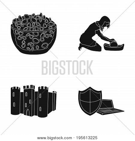 products, archeology and or  icon in black style. education, technology icons in set collection.