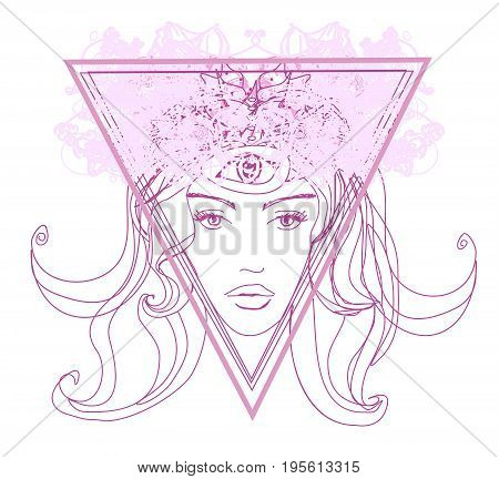 Woman with third eye psychic supernatural senses , vector illustration
