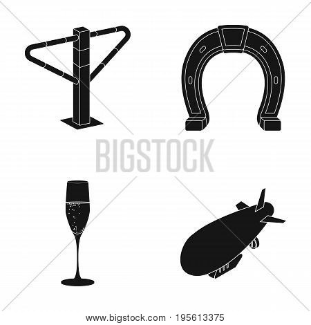 alcohol, racecourse and or  icon in black style.Transport, air transport icons in set collection.