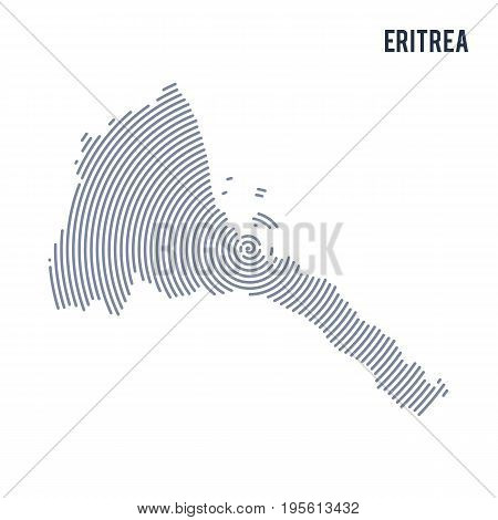 Vector Abstract Hatched Map Of Eritrea With Spiral Lines Isolated On A White Background.