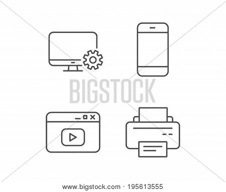 Smartphone, Printer and Browser window line icons. Computer service sign. Quality design elements. Editable stroke. Vector
