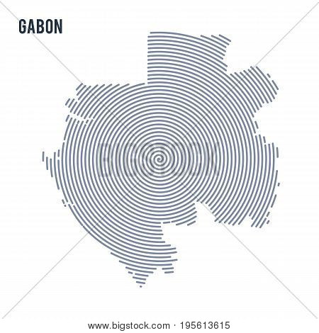 Vector Abstract Hatched Map Of Gabon With Spiral Lines Isolated On A White Background.