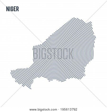 Vector Abstract Hatched Map Of Niger With Spiral Lines Isolated On A White Background.