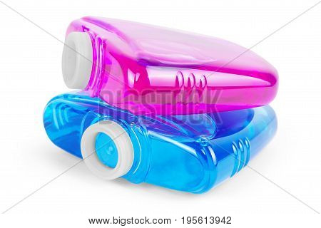 Tablets of Blue Toilet Bowl Cleaner on White Background