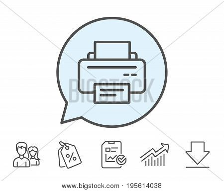 Printer icon. Printout Electronic Device sign. Office equipment symbol. Report, Sale Coupons and Chart line signs. Download, Group icons. Editable stroke. Vector