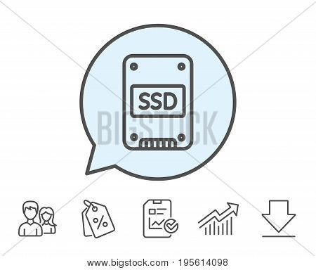 SSD icon. Solid-state drive sign. Storage disk symbol. Report, Sale Coupons and Chart line signs. Download, Group icons. Editable stroke. Vector