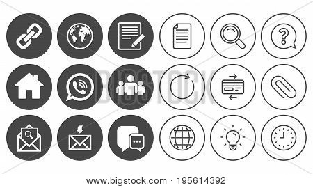 Communication icons. Contact, mail signs. E-mail, call phone and group symbols. Document, Globe and Clock line signs. Lamp, Magnifier and Paper clip icons. Question, Credit card and Refresh. Vector