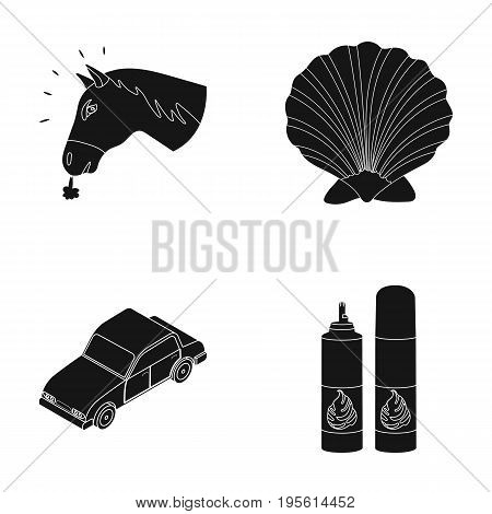 animal, Transport and or  icon in black style. cooking, traveling icons in set collection.