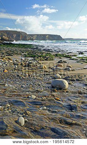 Gravel beach in Brittany France (Plage de Veryac'h)