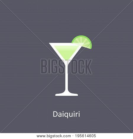 Daiquiri cocktail icon on dark background in flat style. Vector illustration