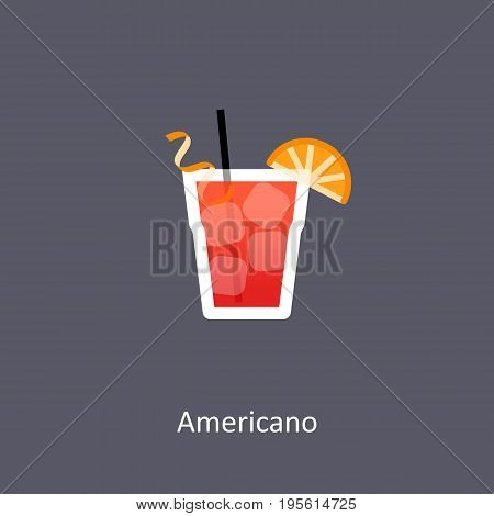 Americano cocktail icon on dark background in flat style. Vector illustration