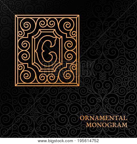 Flourishes luxury elegant ornamental monogram template with letter C in trendy linear style. Vector illustration.