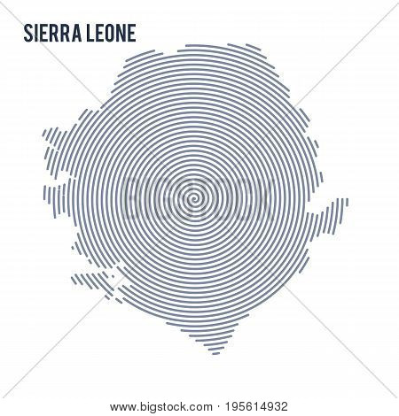 Vector Abstract Hatched Map Of Sierra Leone With Spiral Lines Isolated On A White Background.