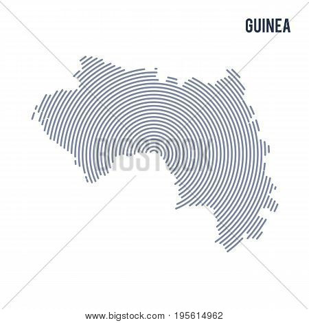 Vector Abstract Hatched Map Of Guinea With Spiral Lines Isolated On A White Background.