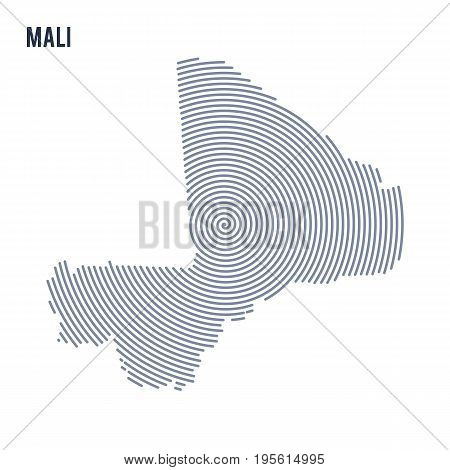 Vector Abstract Hatched Map Of Mali With Spiral Lines Isolated On A White Background.