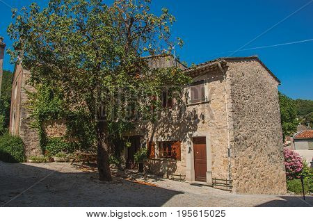 Figanières, France - July 11, 2016. View of houses with big tree in the morning sun and blue sky, in the quiet and charming village of Figanières. Var department, Provence region, southeastern France