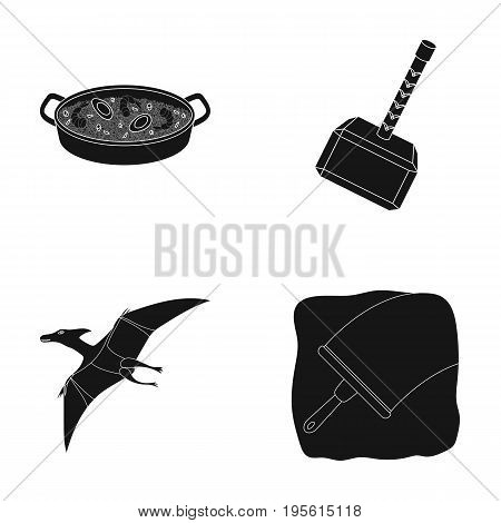 cleaning, travel and or  icon in black style.history, training icons in set collection.
