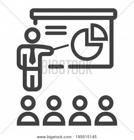 Training presentation line icon, business and teacher, vector graphics, a linear pattern on a white background, eps 10.