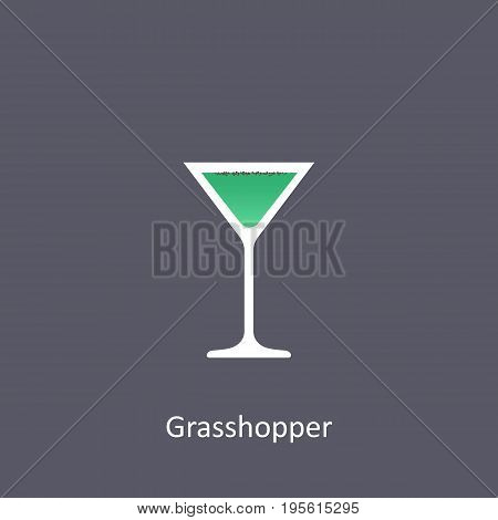 Grasshopper cocktail icon on dark background in flat style. Vector illustration