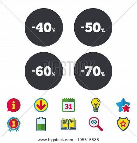 Sale discount icons. Special offer price signs. 40, 50, 60 and 70 percent off reduction symbols. Calendar, Information and Download signs. Stars, Award and Book icons. Light bulb, Shield and Search