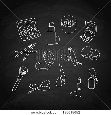Set of makeup cosmetics products, white sketch on black chalkboard. Vector illustration