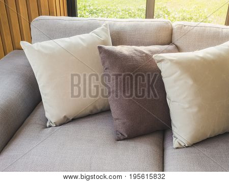 Pillows on Sofa Living Home interior decoration