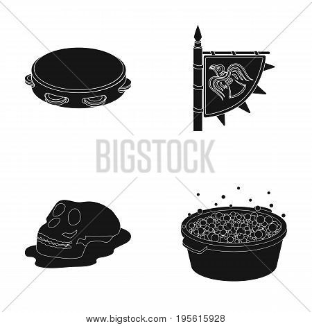 washing, music and or  icon in black style.history, travel icons in set collection.