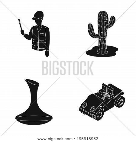 police, alcohol and or  icon in black style.plant, transport icons in set collection.