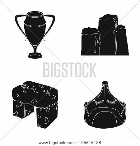 lear, drawing and or  icon in black style.Mongolia, education icons in set collection.