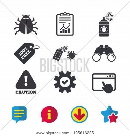 Bug disinfection icons. Caution attention symbol. Insect fumigation spray sign. Browser window, Report and Service signs. Binoculars, Information and Download icons. Stars and Chat. Vector