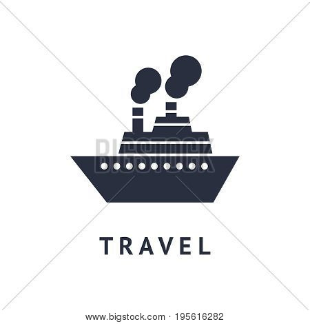 Digital vector black travel boat transport icon with drawn simple line art, flat style