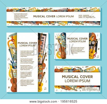 Music templates and banners made of different musical instruments, treble clef and notes. Colorful vector illustration.