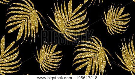 Vector gold glitter palm leaf on a dark background. Tropical leaves seamless pattern. Banana leaf. Exotic design isolated. Trendy Hawaiian Print. Bright textured with branches. Stylish design.