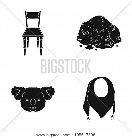 Furniture, animal and or  icon in black style.mineral, clothing icons in set collection.