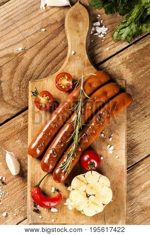 Wiener Sausages On Wooden Background. Top View.