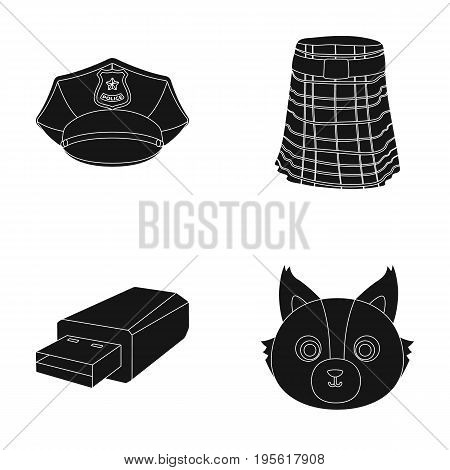 clothing, technology and or  icon in black style.travel, animal icons in set collection.